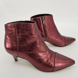 Sam Edelman Red Kinzey Metallic Ankle Boots